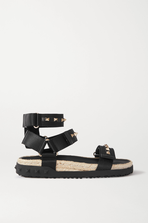 Valentino Valentino Garavani Rockstud 35 leather-trimmed canvas espadrille sandals