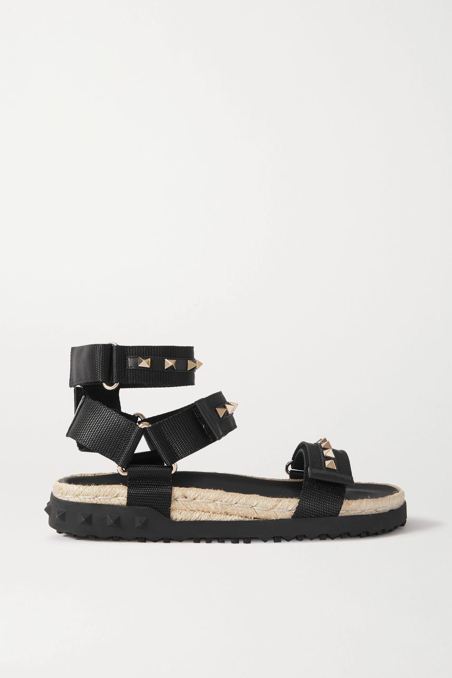 Valentino Valentino Garavani Rockstud 35 Espadrille-Sandalen aus Canvas mit Lederbesätzen