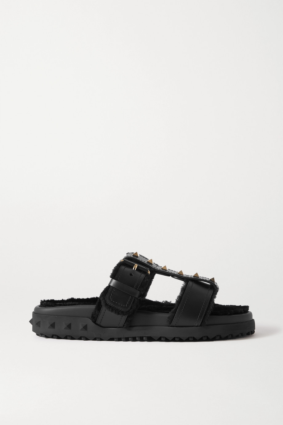 Valentino Valentino Garavani Rockstud shearling-lined leather slides