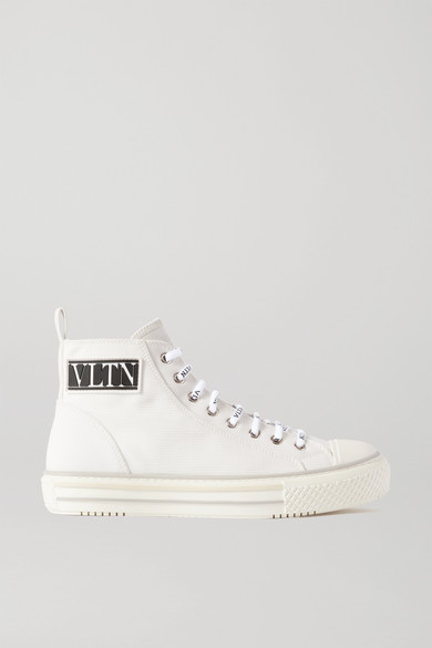 Valentino - Logo-detailed Canvas High-top Sneakers