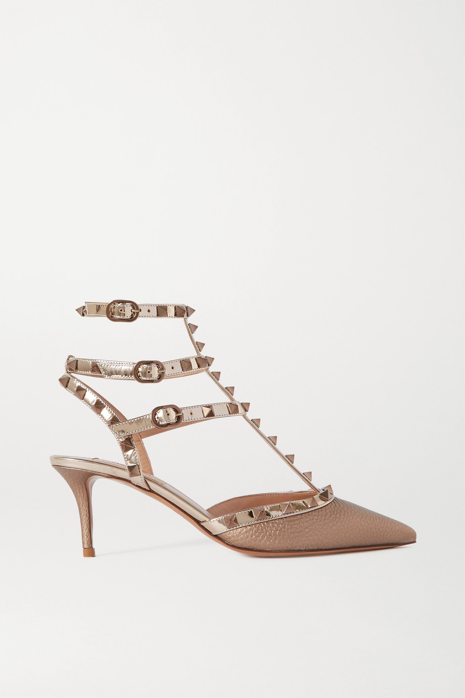 Valentino Valentino Garavani Rockstud 65 metallic textured-leather pumps