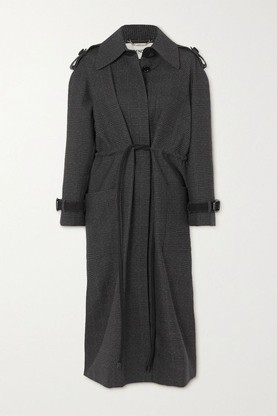 Fendi Belted suede-trimmed checked wool coat