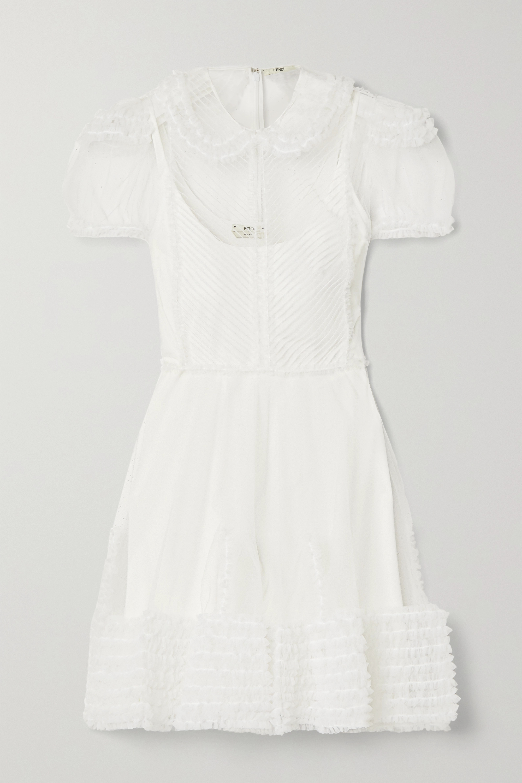Fendi Mehrlagiges Minikleid aus Tüll und Strick