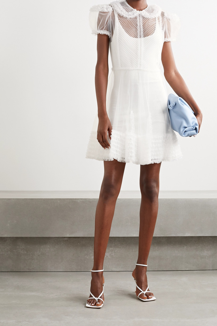 Fendi Layered tulle and knitted mini dress