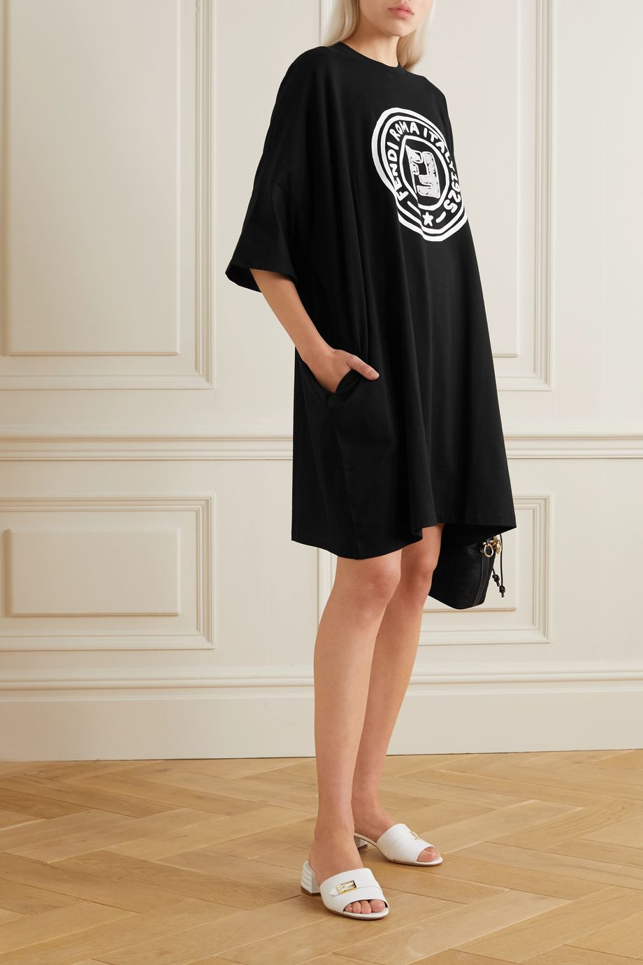 Fendi Embroidered printed cotton-jersey mini dress