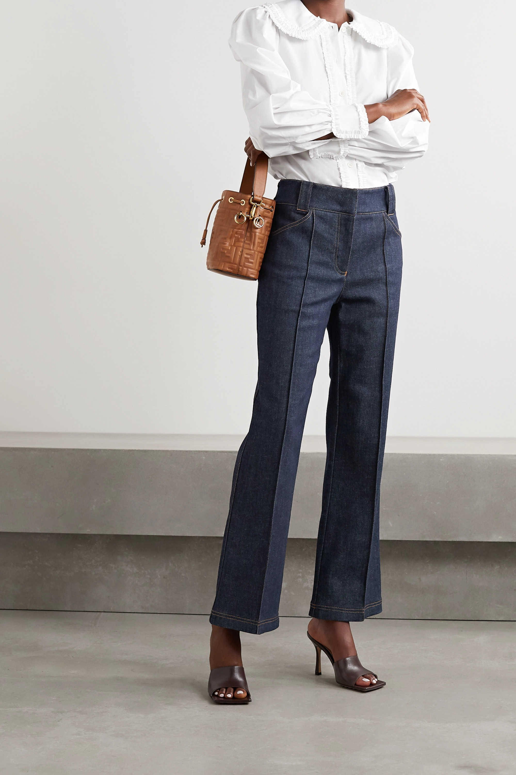 Fendi Quilted silk satin-trimmed high-rise straight-leg jeans