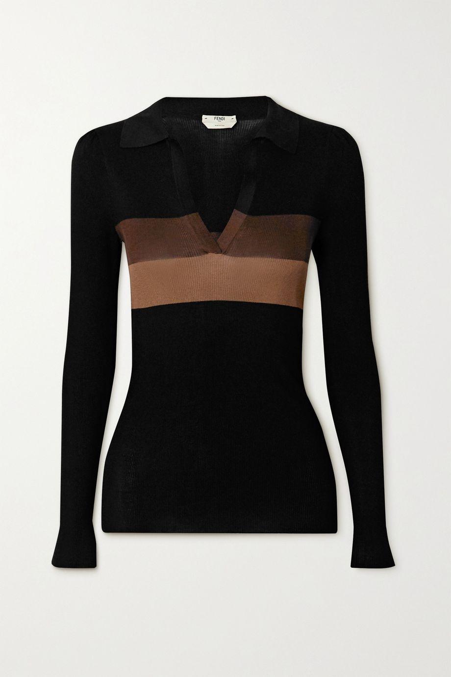 Fendi Striped ribbed silk sweater