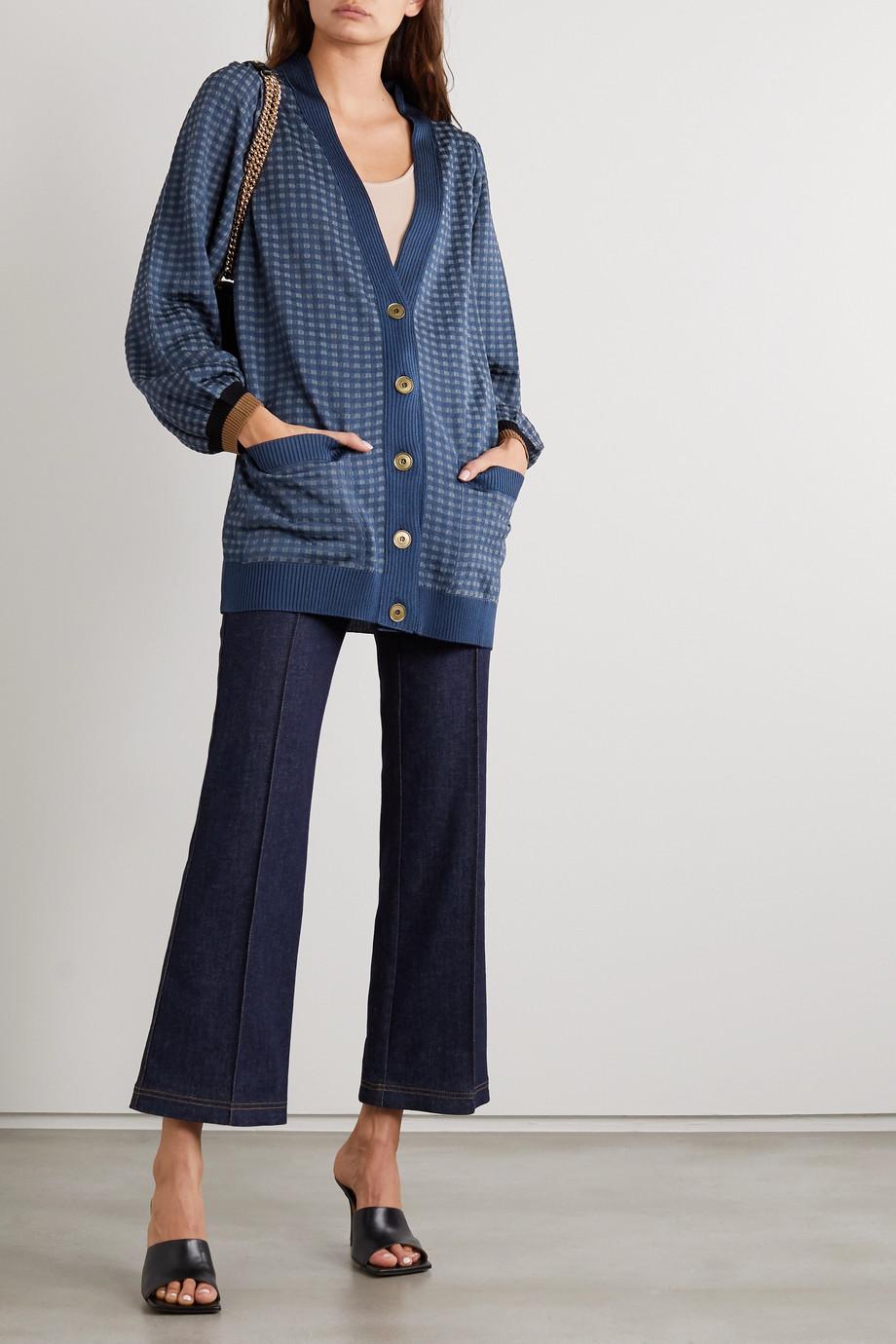 Fendi Cardigan aus kariertem Jacquard-Strick aus einer Seidenmischung