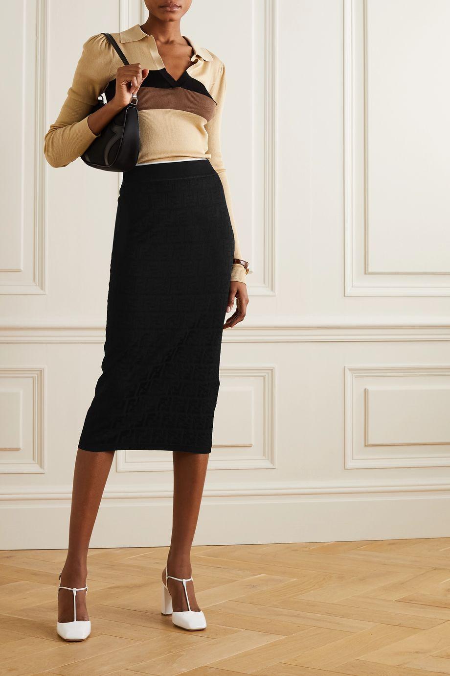 Fendi Cotton-blend jacquard midi skirt