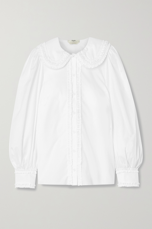 Fendi Hemd aus Baumwollpopeline mit Rüschen