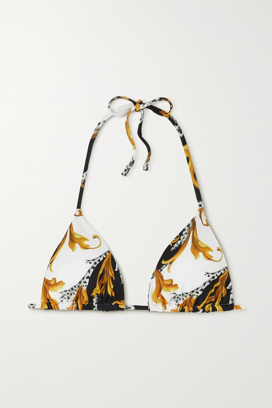 Versace Donna 印花挂脖三角比基尼上装