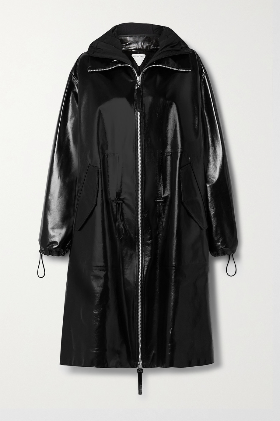 Bottega Veneta Hooded shell-trimmed leather coat
