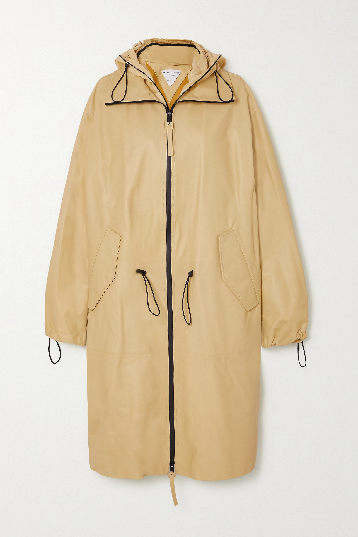 Bottega Veneta Trenchcoat aus Leder mit Kapuze