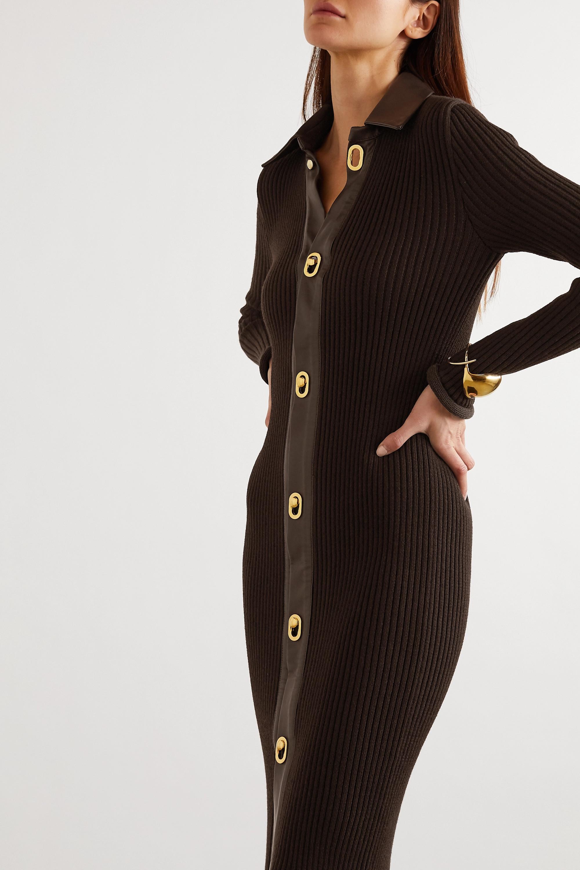Bottega Veneta Robe midi en laine mélangée côtelée à finitions en cuir