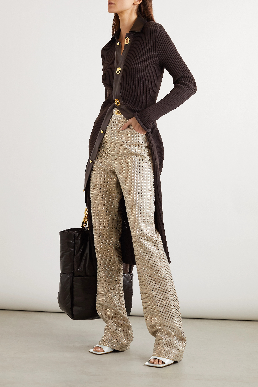 Bottega Veneta Leather-trimmed ribbed wool-blend midi dress