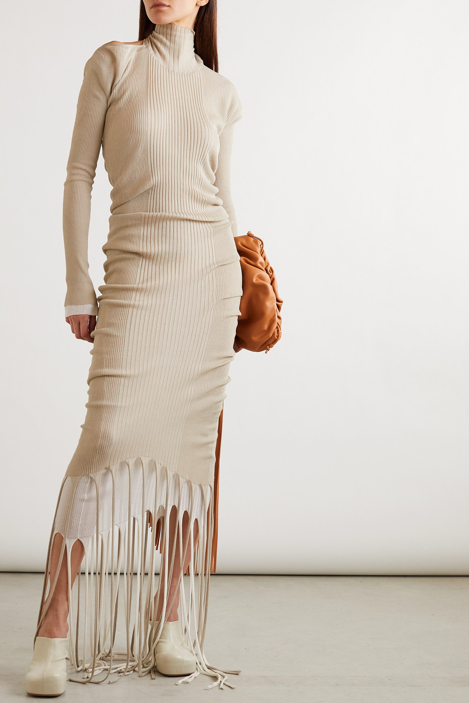 Bottega Veneta Open-back layered fringed ribbed-knit turtleneck dress