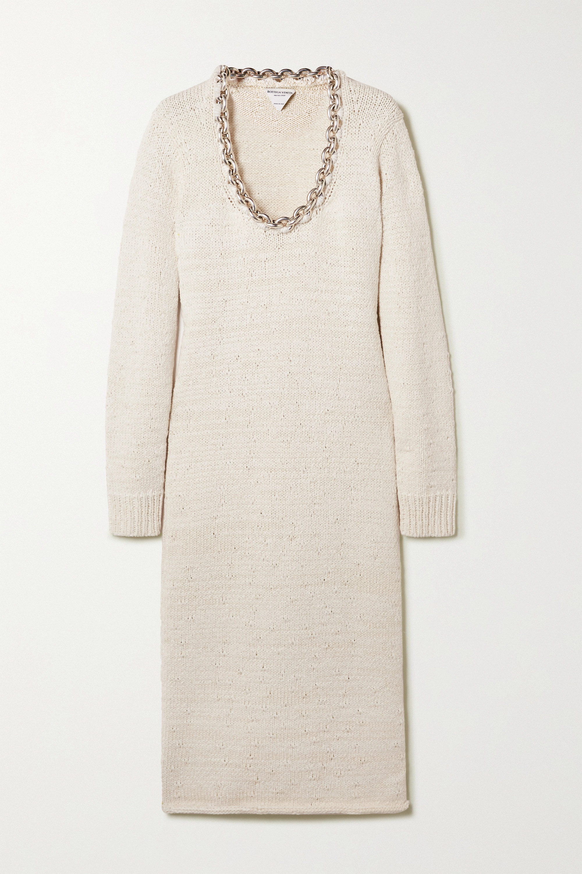 Bottega Veneta Chain-embellished knitted midi dress