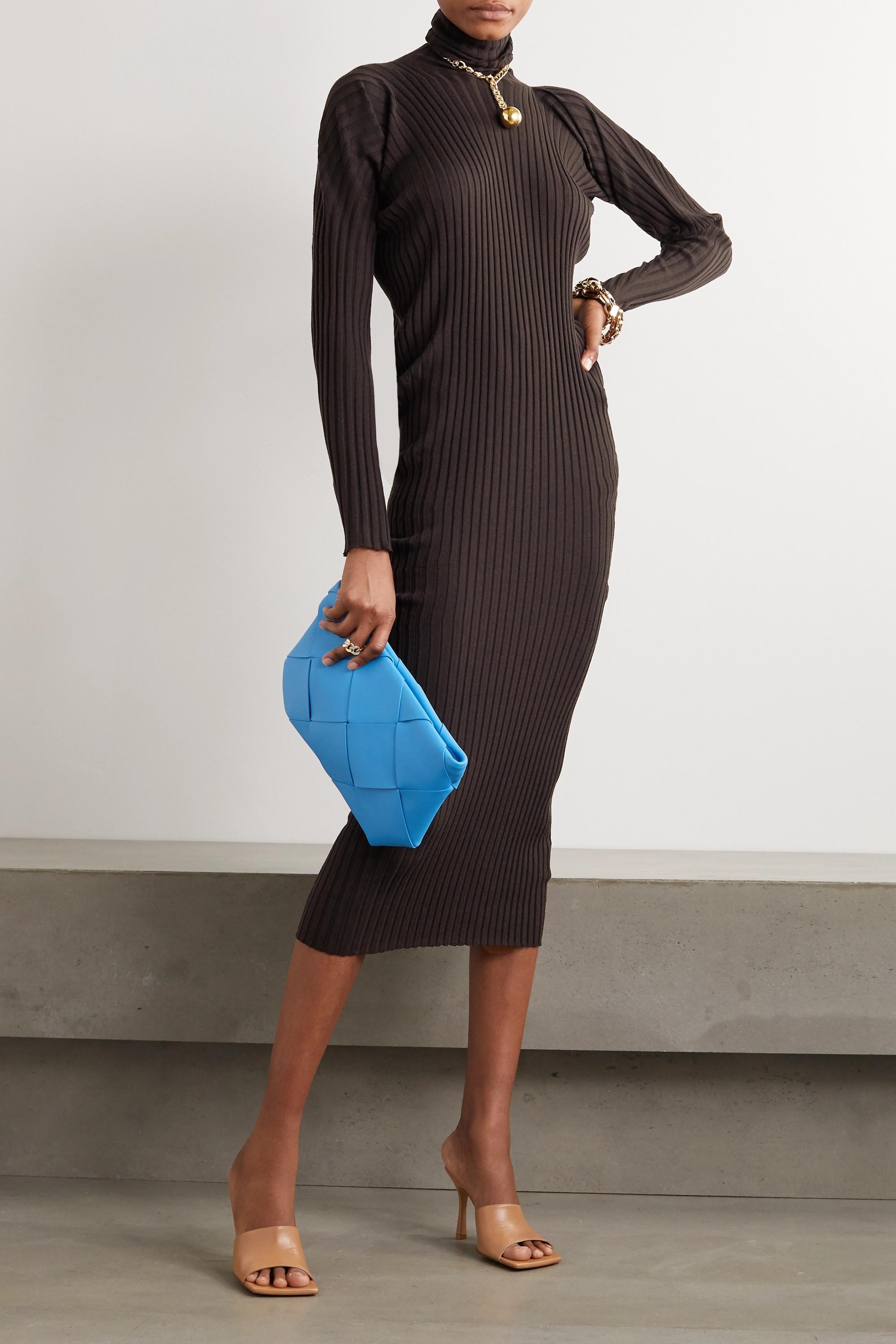 Bottega Veneta Ribbed wool turtleneck midi dress