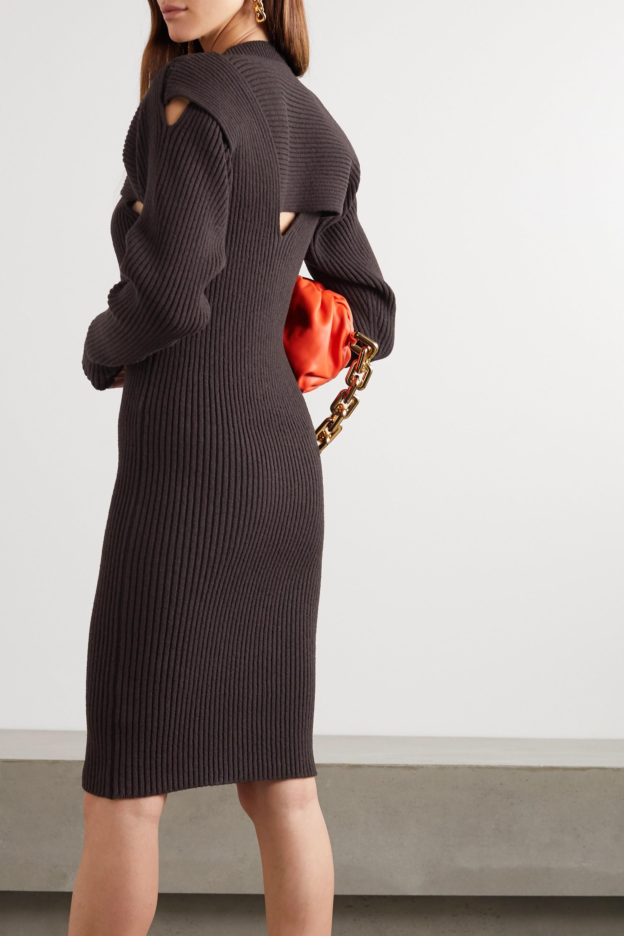 Bottega Veneta Midikleid aus Rippstrick mit Cut-outs
