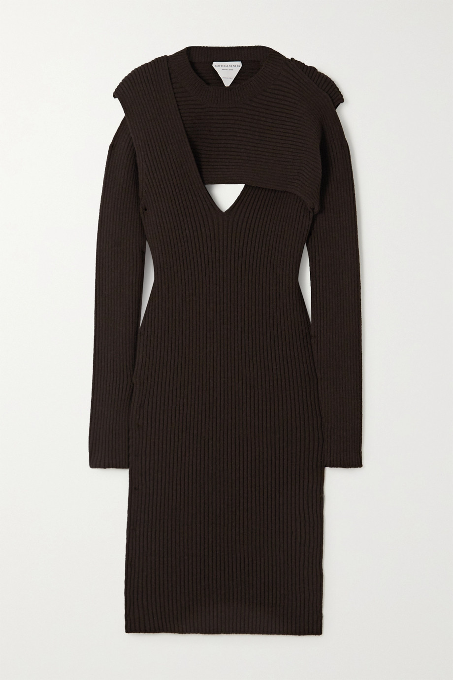 Bottega Veneta Cutout ribbed-knit midi dress