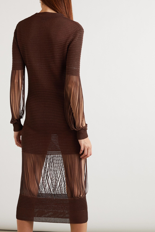 Bottega Veneta Chain-embellished metallic crochet-knit midi dress