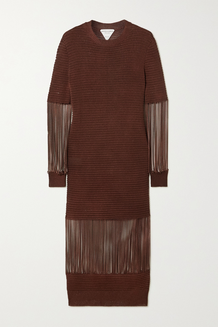 Bottega Veneta Chain-embellished metallic crochet-knit midi dress