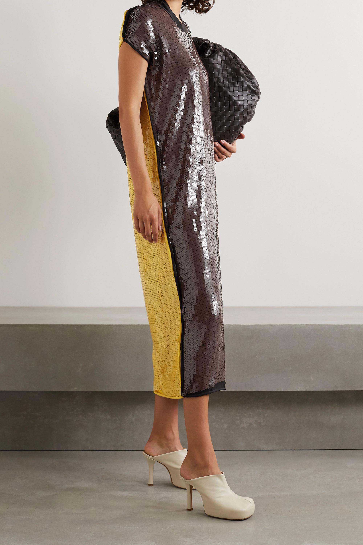 Bottega Veneta Robe midi en mailles stretch à sequins bicolores