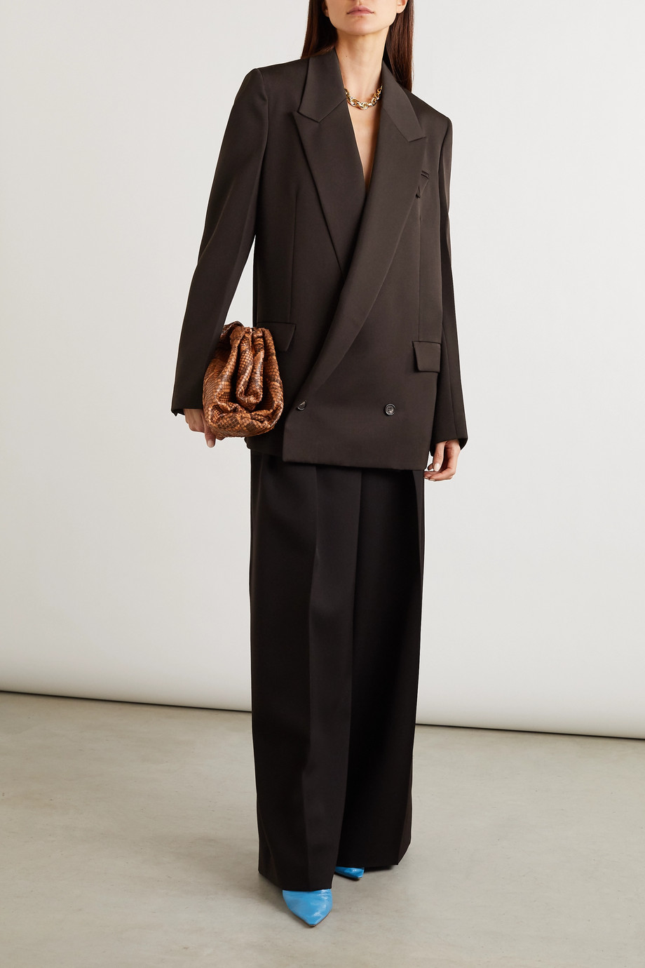 Bottega Veneta Oversized double-breasted grain de poudre blazer