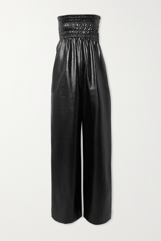 Bottega Veneta Strapless shirred crinkled glossed-leather jumpsuit