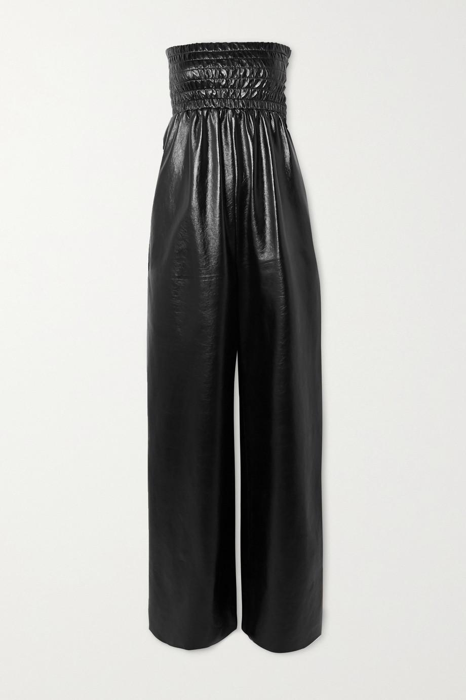 Bottega Veneta Combi-pantalon bustier en cuir glacé froissé à smocks