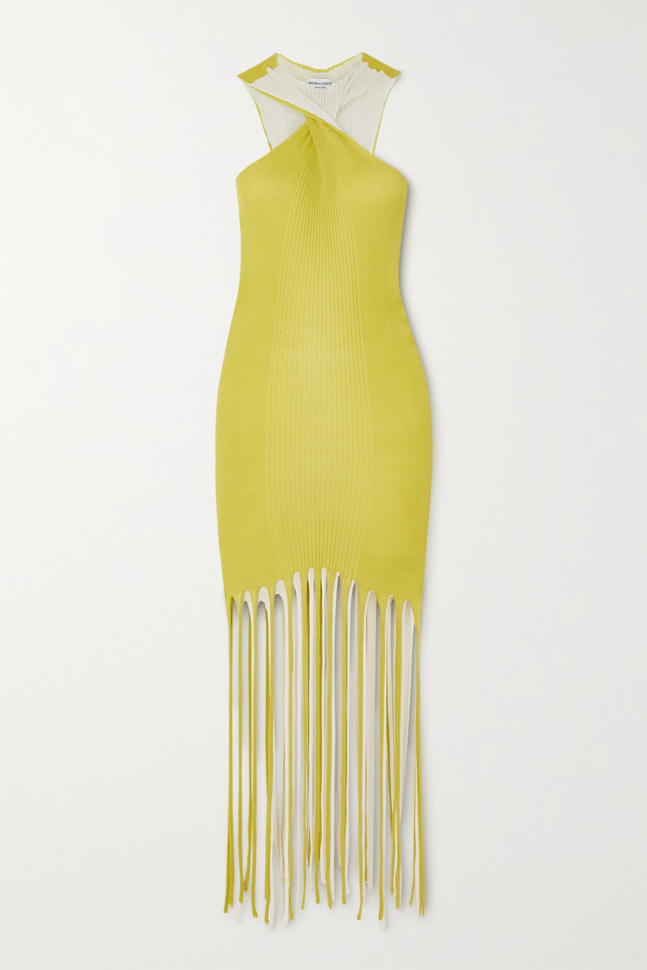 Bottega Veneta Fringed ribbed cotton and silk-blend halterneck dress
