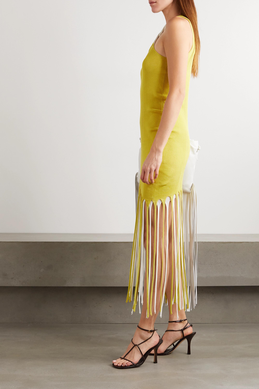 Bottega Veneta Robe en coton et soie mélangés côtelés à franges