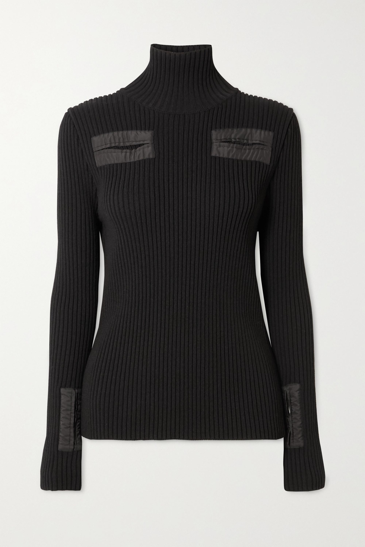 Bottega Veneta Cutout shell-trimmed ribbed wool-blend turtleneck sweater