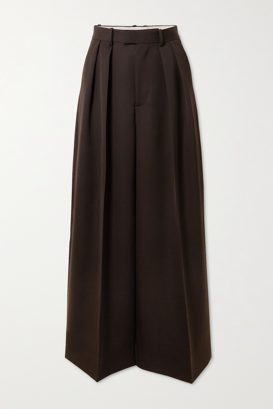 Bottega Veneta Pleated grain de poudre wide-leg pants