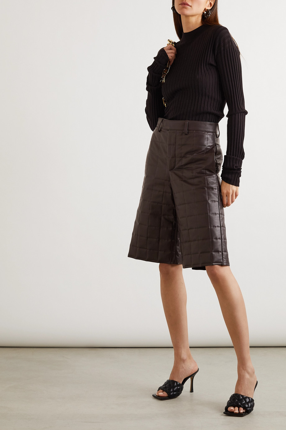 Bottega Veneta Quilted leather shorts