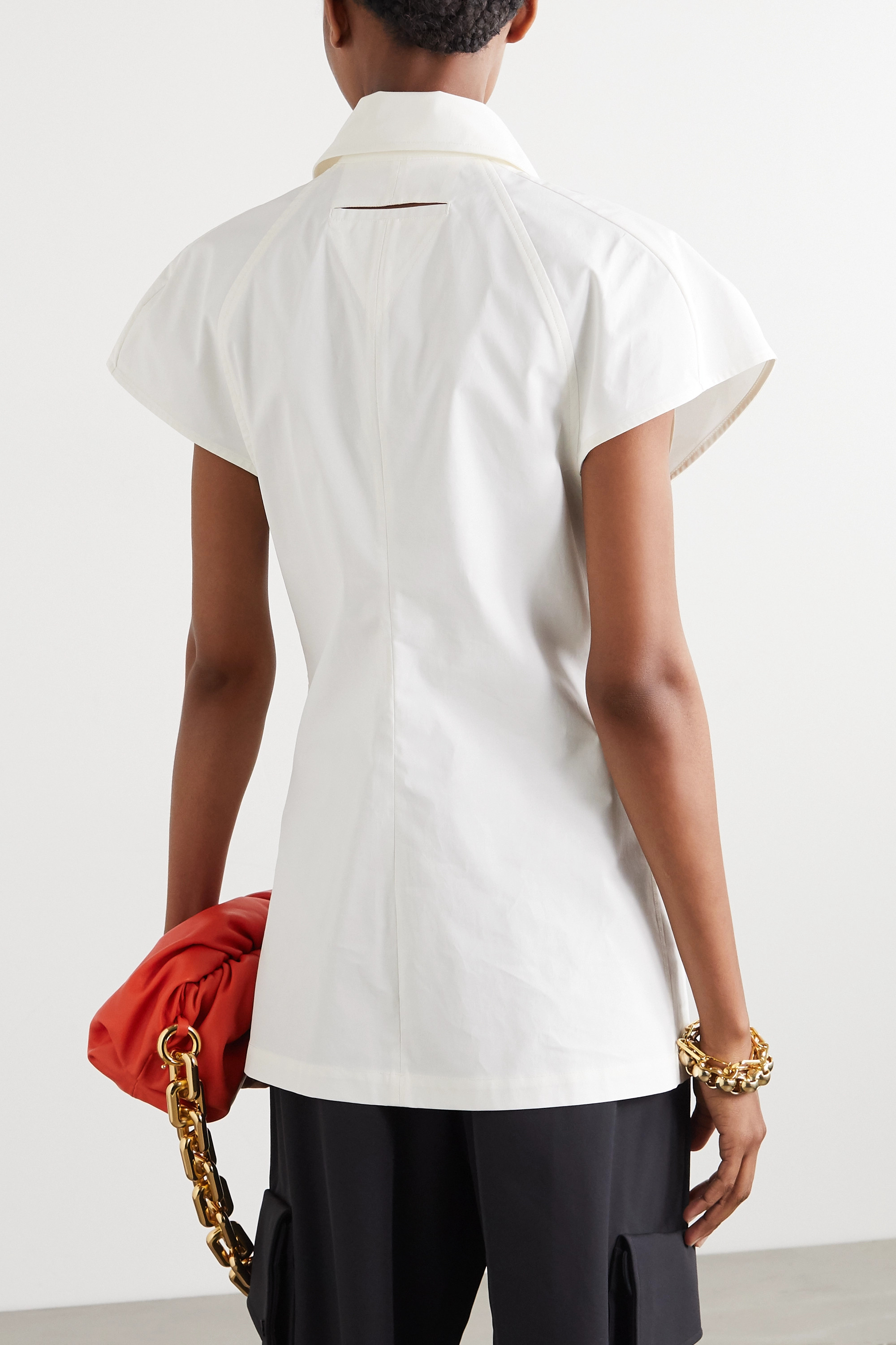 Bottega Veneta Cutout cotton-poplin top