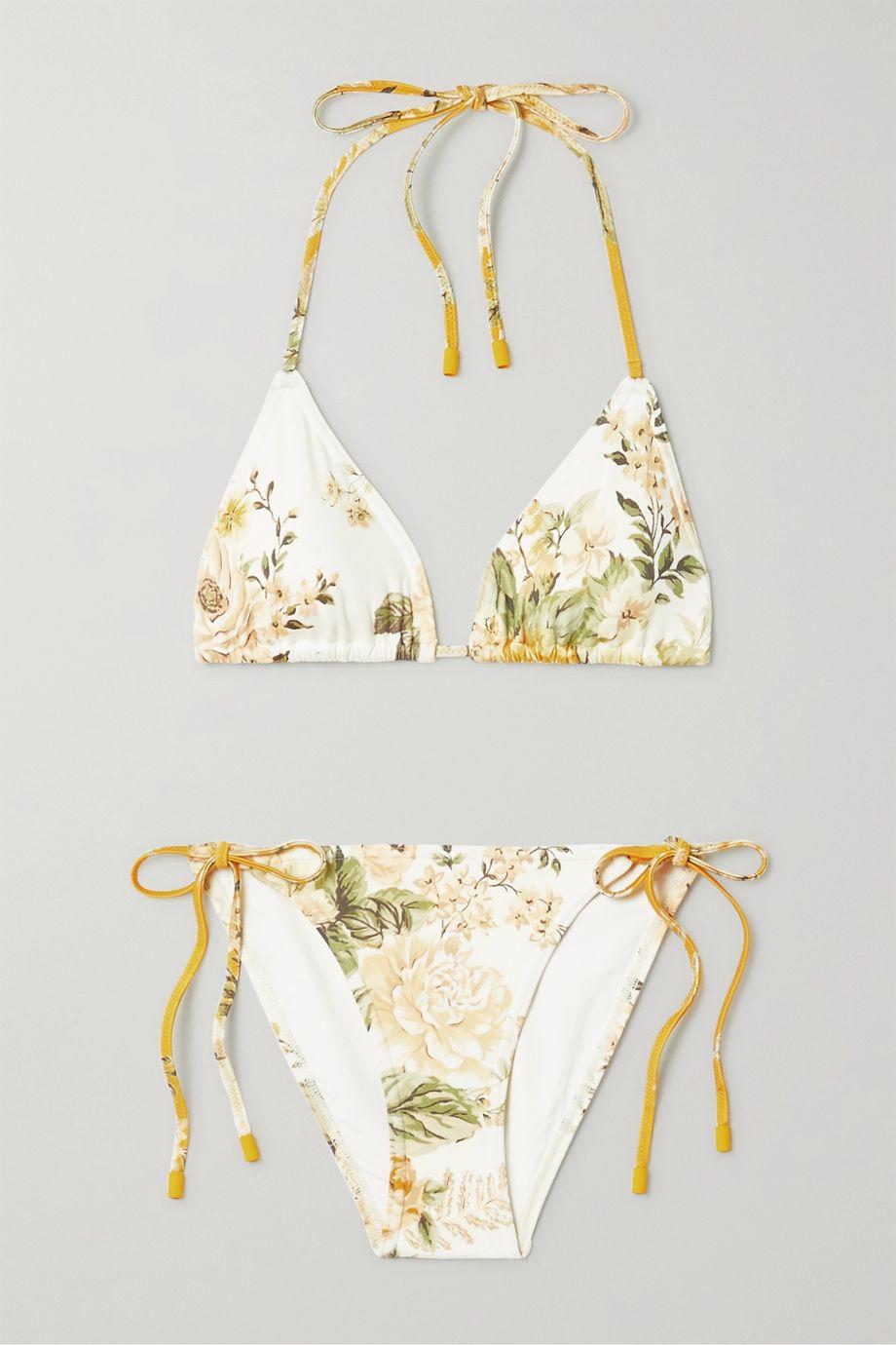Zimmermann Amelie floral-print triangle bikini