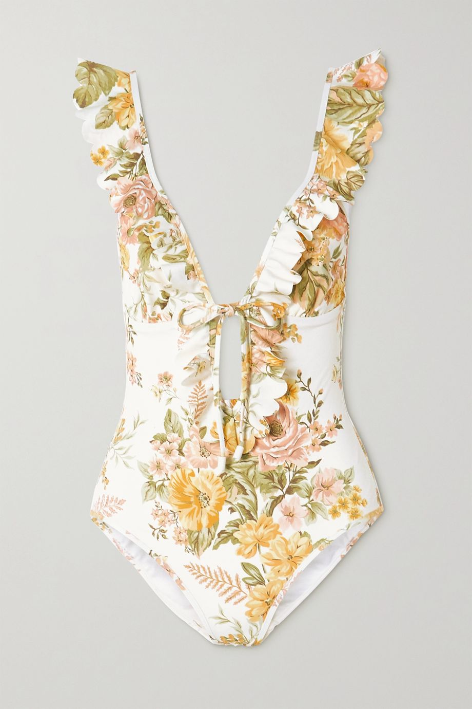 Zimmermann Amelie ruffled floral-print swimsuit