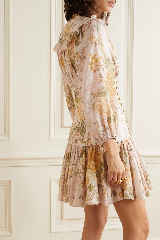 Zimmermann Mini-robe en lin à imprimé fleuri, volants et lacets Amelie