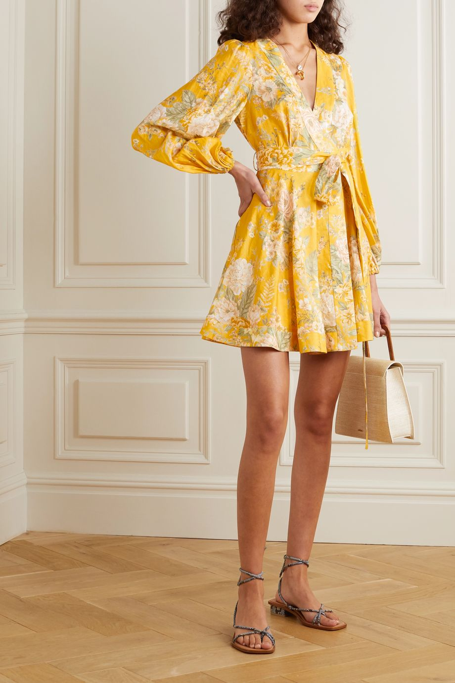 Zimmermann Amelie floral-print linen mini wrap dress