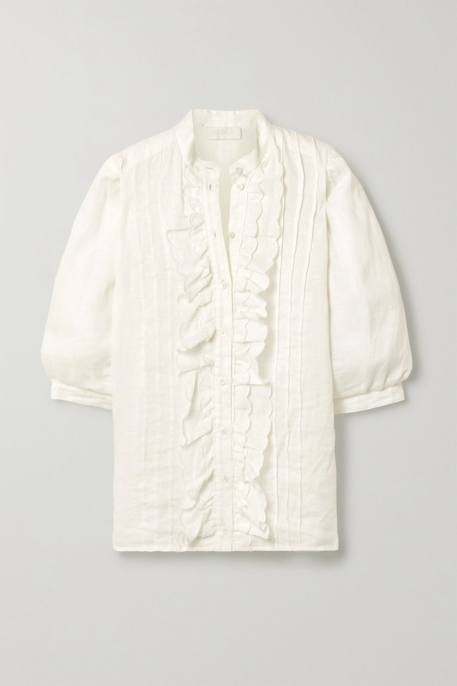 Zimmermann Amelie pintucked scalloped linen blouse