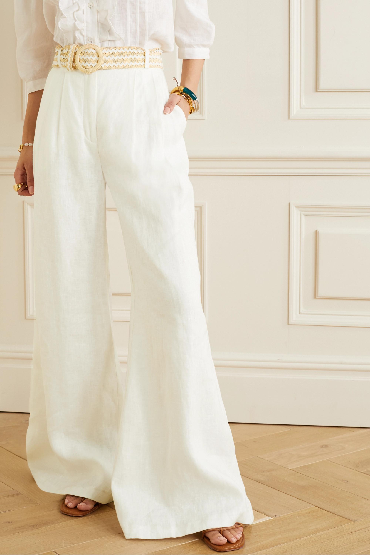 Zimmermann Amelie belted linen wide-leg pants