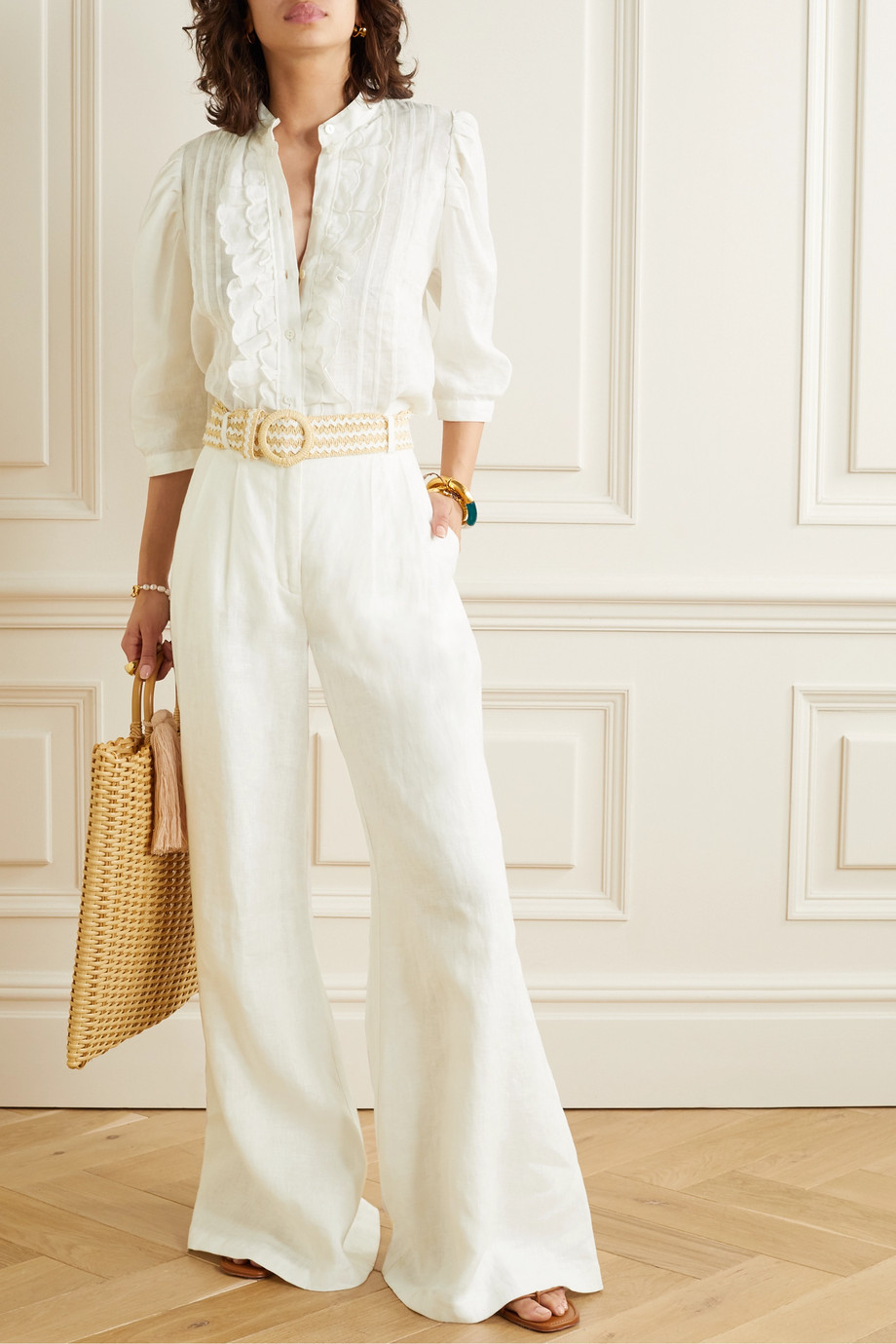 Zimmermann Amelie belted linen wide-leg pants