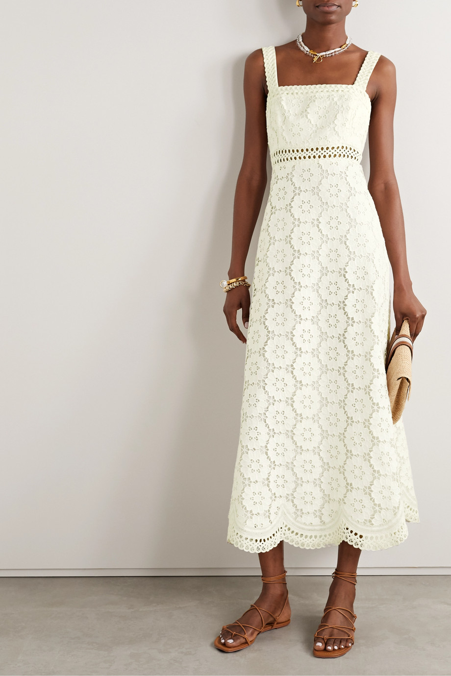 Zimmermann Bells linen and cotton-blend guipure lace midi dress