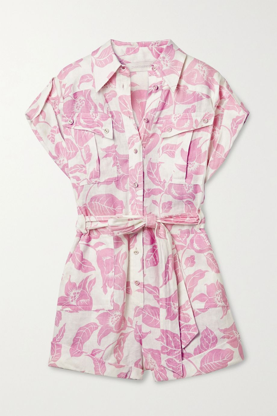 Zimmermann Bells belted printed linen playsuit