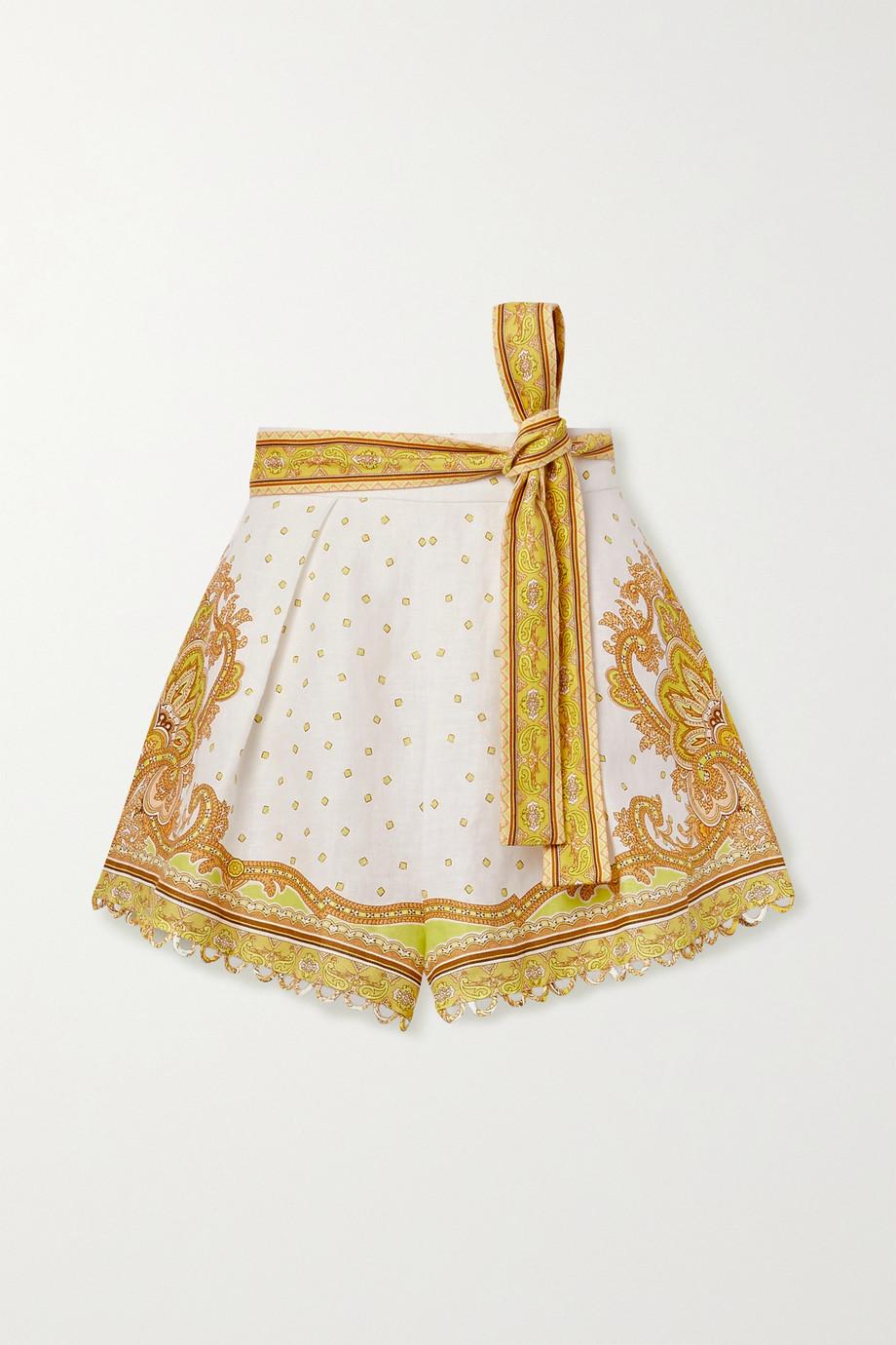 Zimmermann Bells Shorts aus Leinen mit Paisley-Print und Bindegürtel