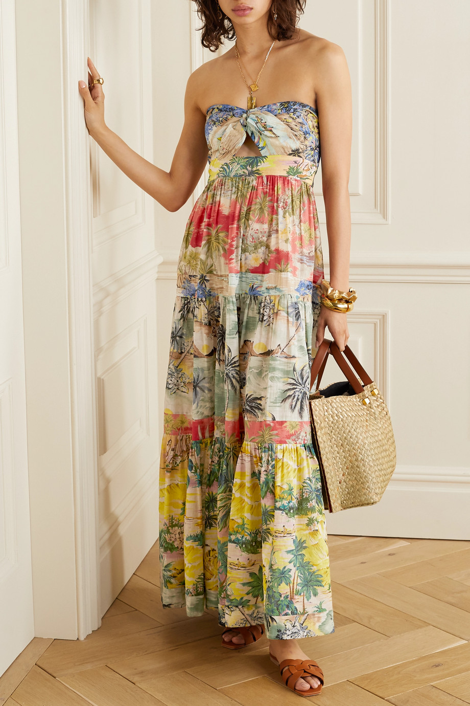 Zimmermann Juliette strapless knotted tiered printed linen maxi dress