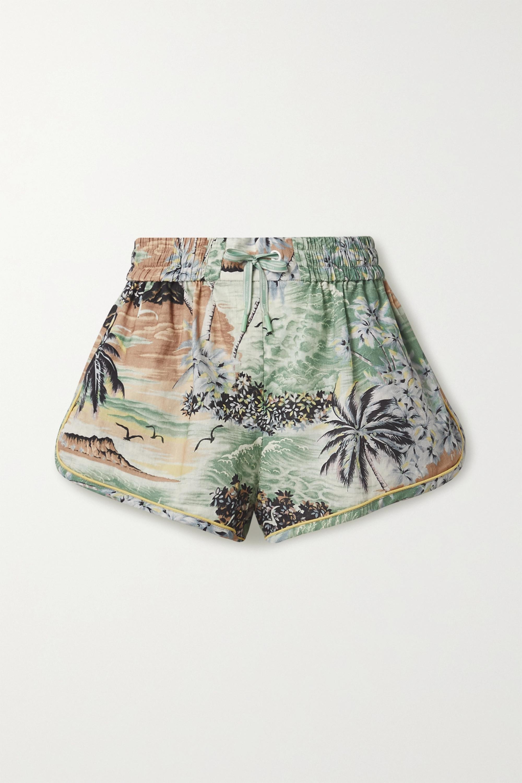 Zimmermann Juliette printed linen and cotton-blend voile shorts