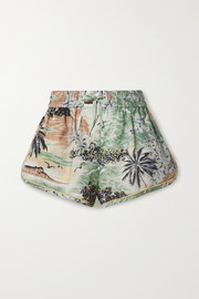 Zimmermann Juliette printed linen and cotton-blend voile shorts