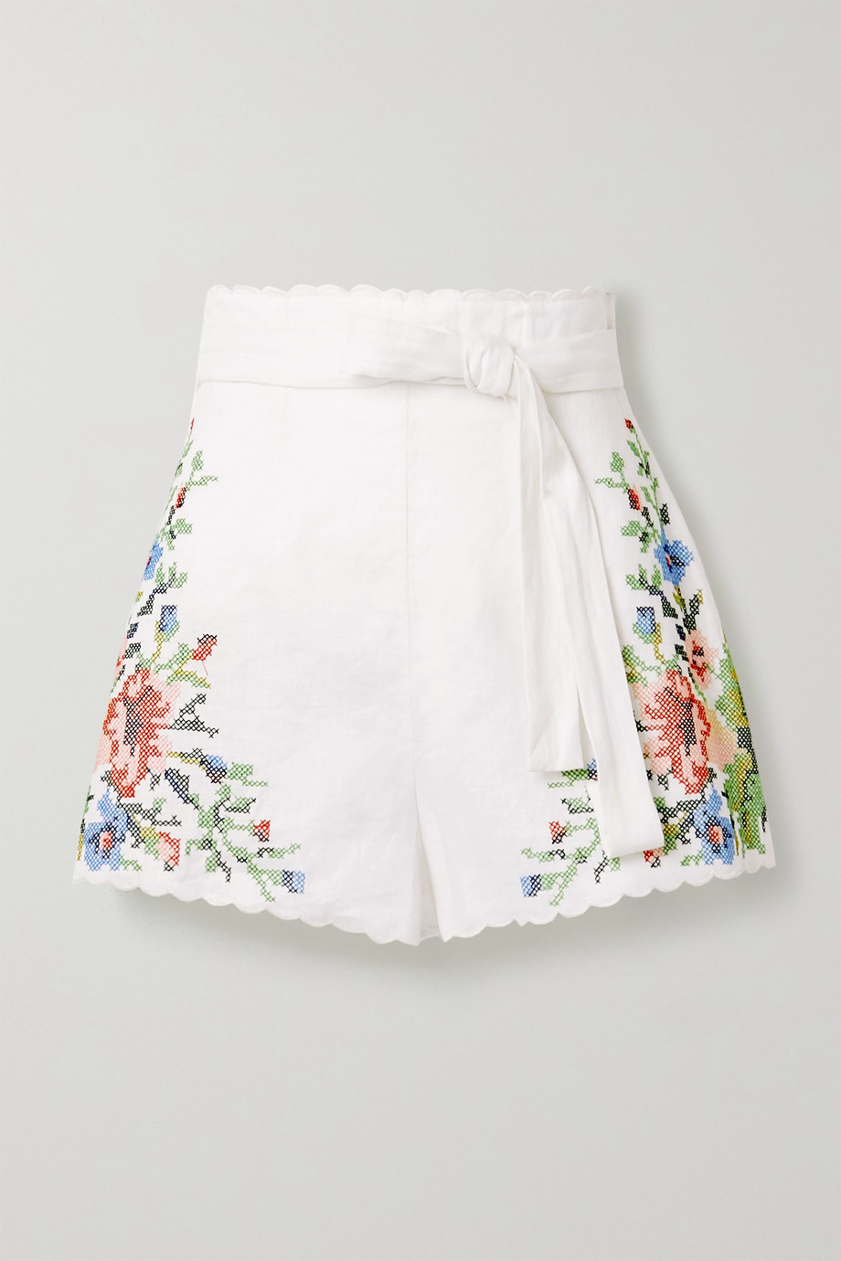 Zimmermann Juliette belted scalloped embroidered linen shorts